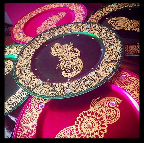 6x green pink and gold mehndi thaals by Candletastic on Etsy