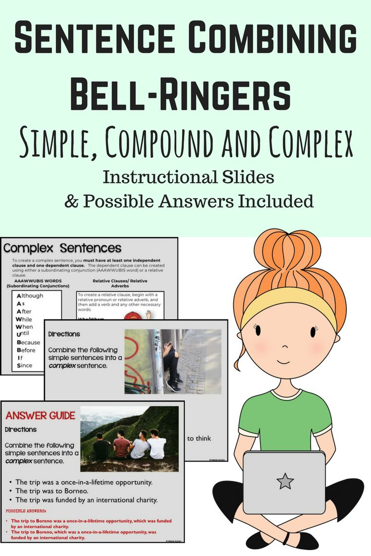Do your students need help practicing simple, compound and complex sentences?  Use these modern