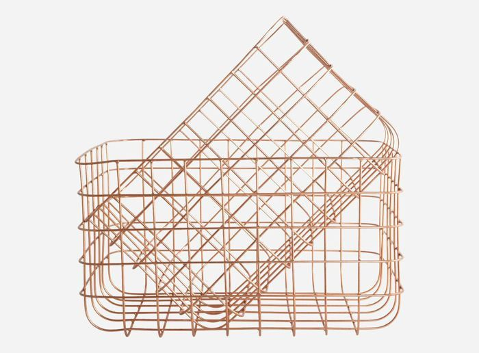 basket copper wire set of 2 home kitchen pinterest. Black Bedroom Furniture Sets. Home Design Ideas