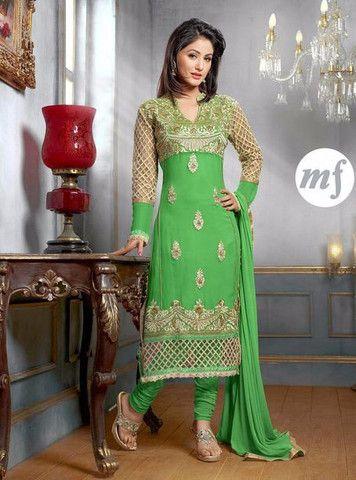 MF 34006 - Green Color Georgette Designer Suit