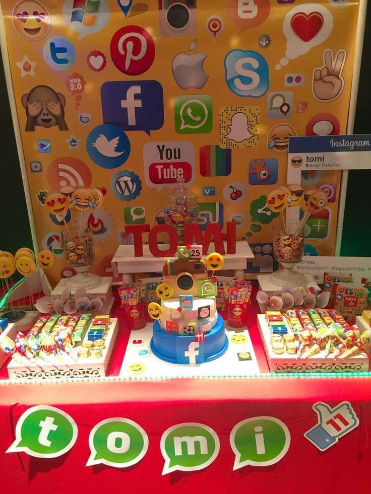 You have to see this social networks birthday party! See more party ideas at CatchMyParty.com!