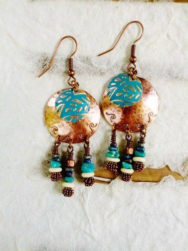 Handmade Copper Earrings, Hammered, Wire Wrapped, Turquoise, Dangles | stonemountainjewelry - Jewelry on ArtFire