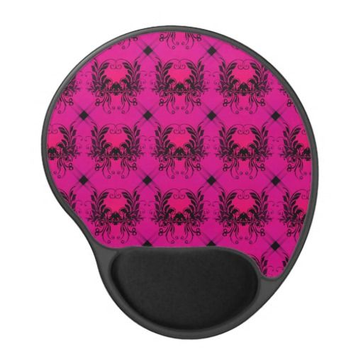Pink Black Damask Gel Mouse Pad - This design features black damask on a fading light to dark pink background. http://www.zazzle.com/pink_black_damask_gel_mouse_pad-159556659441449036?rf=238523064604734277