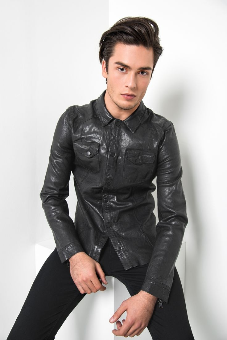 Nale+/+Collared+leather+shirt+with+pockets