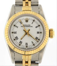 """Rolex Wrist watch 67193 Item #: 903005124 Type: Wrist watch Brand: Rolex Model number: 67193 Model name: Oyster Perpetual Case width: 28mm Weight: 31.3 Bracelet length: 6.5"""" Movement type: Automatic Year: 1987 Case Material: Stainless Steel Box included: no Paperwork included: no Running: yes Karat: 18kt Dial color: White Band material: Stainless Steel and Gold Bezel Material: Yello Gold Ask for Betty 954-791-4125"""