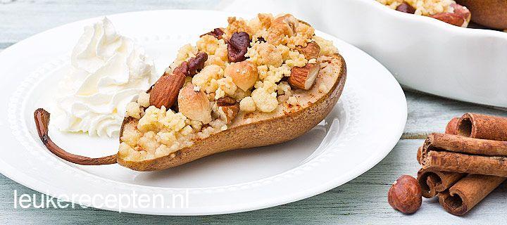 Peren met noten crumble http://www.leukerecepten.nl/recepten/767-peer-met-noten-crumble