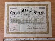 Terminal Hotel Trust Preferred Stock Certificate 13 Shares 1920
