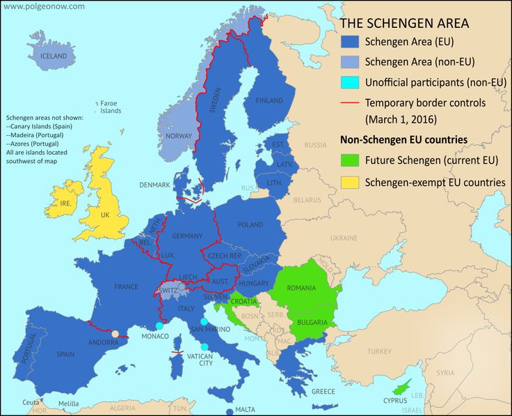 Map of Temporarily Reintroduced Border Control in the Schengen Area (the European Union's border-free travel zone), color-coded for EU Schengen countries, non-EU Schengen countries, future Schengen countries, and Schengen-exempt EU countries, as well as microstates unofficially participating in the Schengen agreements (colorblind accessible).