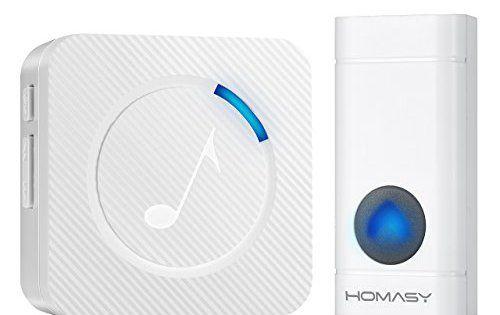 HOMASY Sonnette de porte étanche Carillon portable Sonnerie sans fil 4-Niveaux volume/Flash LED pour Maison/Bureau/Boutique – Blanc: 【Large…