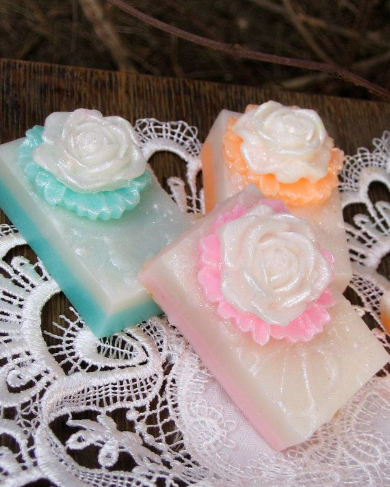 Rose Soap Favors Soap Bar Rose Soap Soap Favors by LolliLuscious