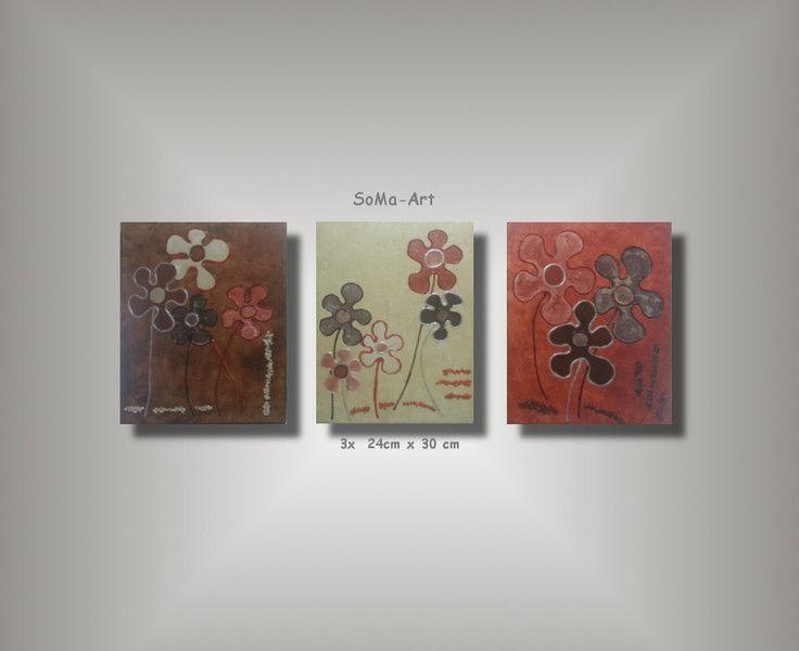 Acrylmalerei -  Acrylbild Happy FlowersTrio #043 - ein Designerstück von SoMa-Art bei DaWanda