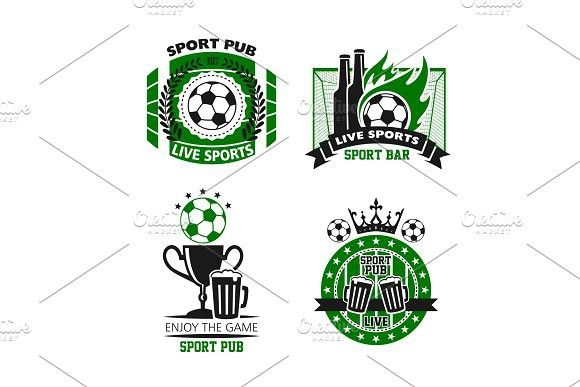 Sport pub icon of soccer ball, beer and cup #sport