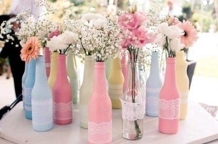 garrafas decoradas para mesa de casamento - Pesquisa Google