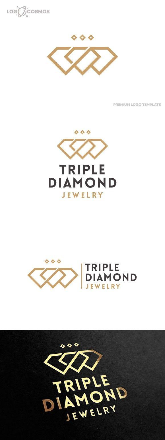 Triple Diamond Jewelry Logo. Wedding Fonts. $35.00