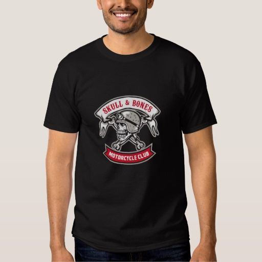 Skull Bones Bike Helmet Ribbon Retro Shirt. Illustration of a skull looking to the side wearing bike helmet with bones at the back and the words Skull & Bones Motorcycle Club inside ribbon set on isolated white background done in retro style. #Illustration #SkullBonesBike