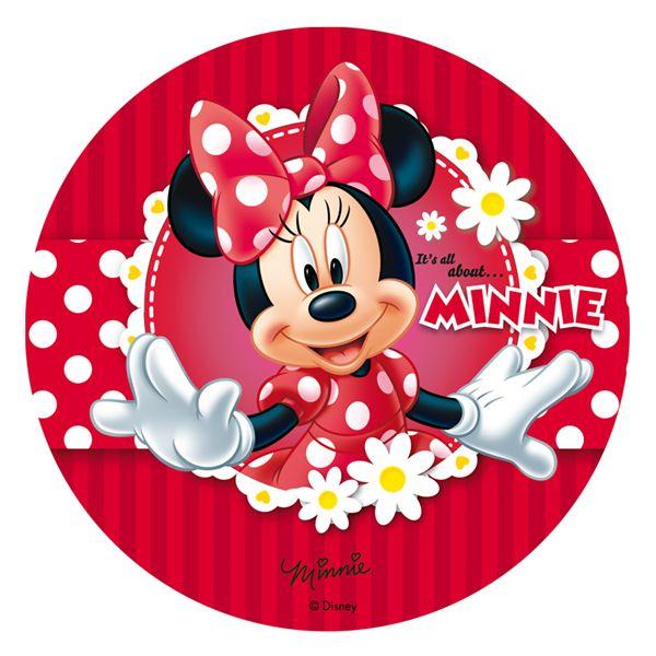 Oblea comestible Minnie Mouse Margaritas Rojo