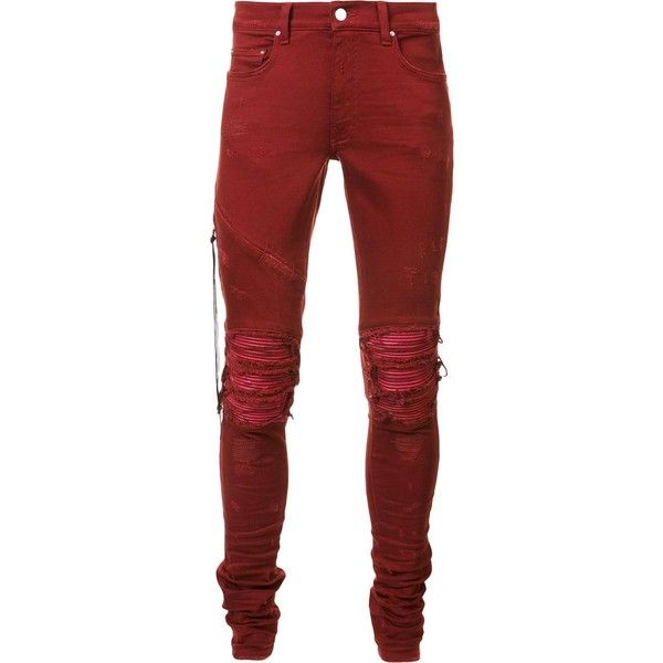 Amiri distressed skinny jeans ($1,240) ❤ liked on Polyvore featuring men's fashion, men's clothing, men's jeans, jeans, men, red, mens destroyed jeans, mens ripped skinny jeans, mens red jeans and mens torn jeans