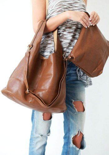 Τσάντα Double Oversized Brown 37,00€ #handbags #women #style