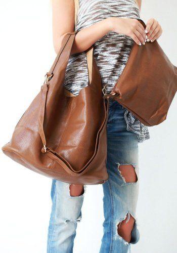 Τσάντα Double Oversized Brown 37,00€ #handbags #women #style