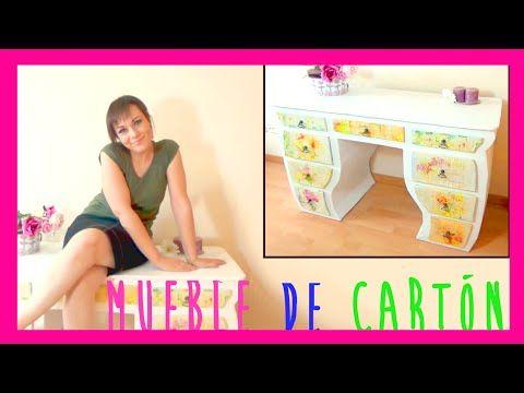 Como hacer un mueble tocador de cartón decorado con decoupage, manualida...