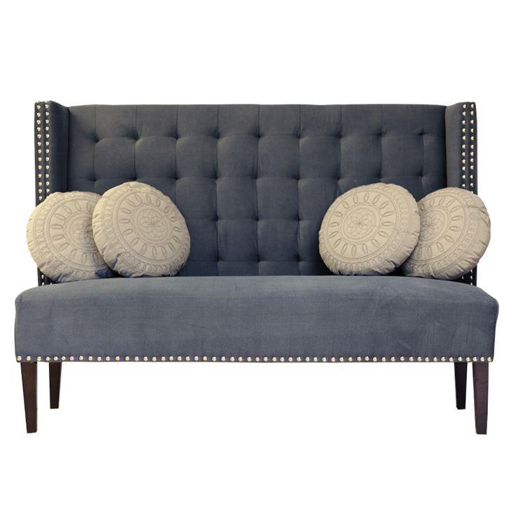 Nydelig dining sofa med høy rygg i mørk blågrå tone. www ...