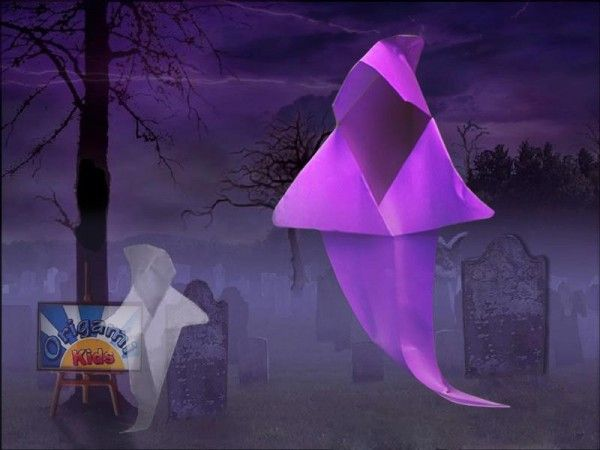 origami ghost by marcela brina origami halloweenhalloween decorationshappy