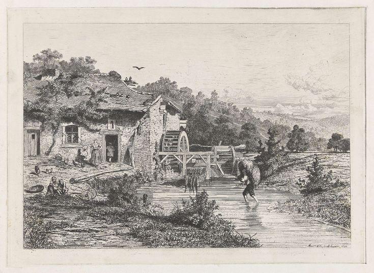 Martinus Antonius Kuytenbrouwer (jr.)   Watermolen, Martinus Antonius Kuytenbrouwer (jr.), 1850   Landschap met een watermolen aan een beek. In de beek loopt een man met een baal hooi op zijn rug. Op het erf voor de molen staat een boerin en lopen een paar kippen. Aan de waterkant twee spelende kinderen.