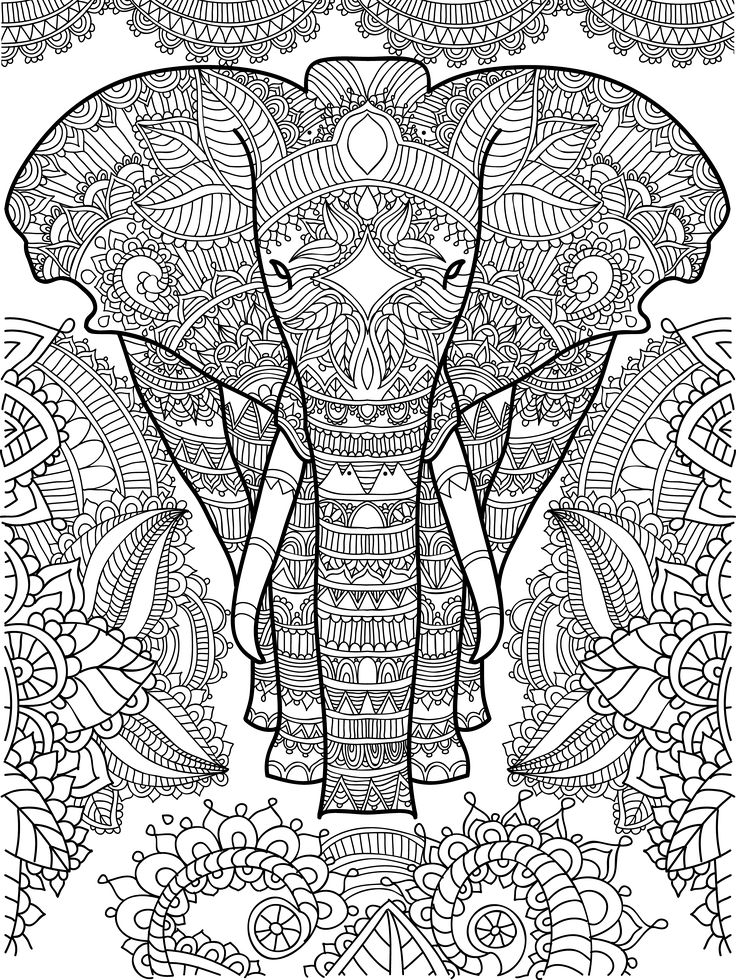 Adult Coloring Pages Books Colouring Book Projects Elephants Mythical Creatures Zentangles Stress Silhouette