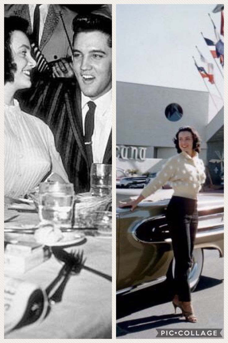 """(Right) Kitty Dolan at the Tropicana Hotel, Las Vegas, 1957. (Left) Elvis with Kitty Dolan at Frank Sennes' Moulin Rouge, Tuesday, March 11, 1958 Hollywood. Elvis was attending a """"King Creole"""" cast party organized by Paramount producer Hal Wallis. Photo right:"""