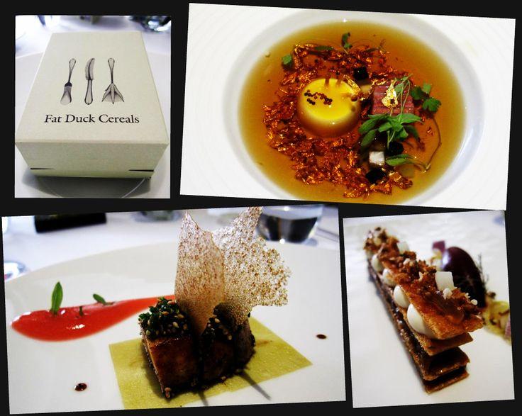 Fat Duck cereal box; mock turtle soup; roast foie gras; tafferty tart - The Fat Duck Restaurant- London UK