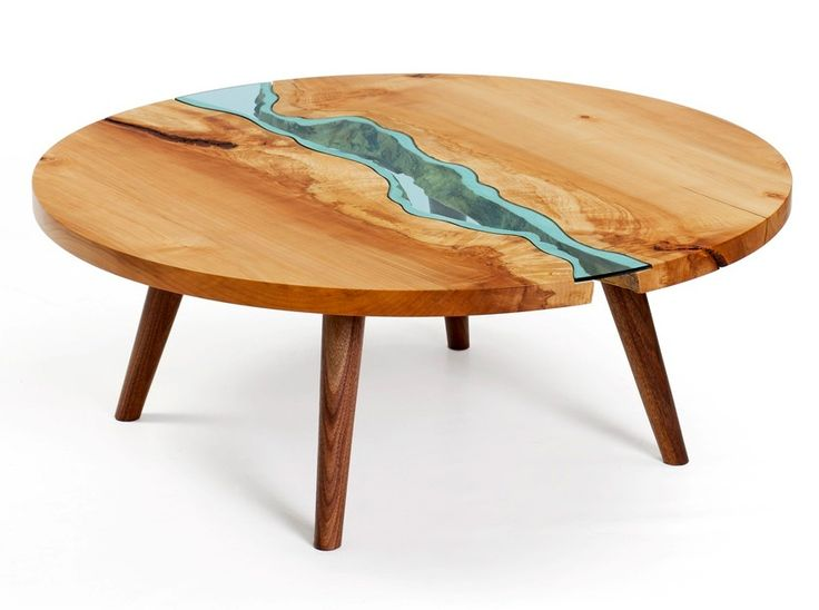 Glass rivers embedded in wood