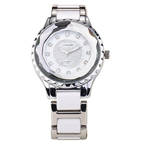 LONGBO Womens Fashion Analog Quartz Business Watches Lady White Ceramic & Silver Link Band Crystal Rhinestone Accented Dial Bracelet Wristwatch Luminous Waterproof Dress Clock & Watch For Women