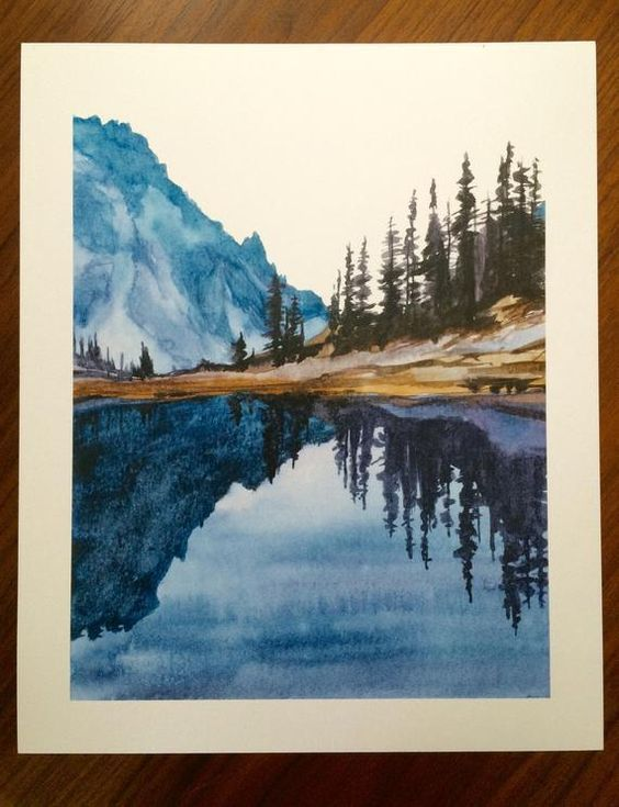 Olympic National Park Mountain Lake Lake Of The Angels Lake Reflection Pacific Northwest Cascad Angels Art Ca Watercolor Art Art Watercolor Paintings