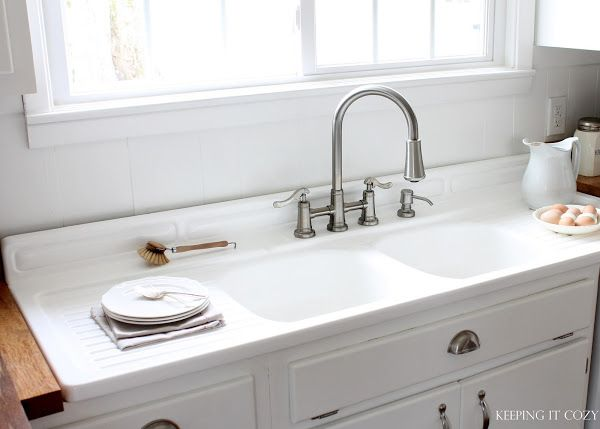 Keeping It Cozy Our Farmhouse Kitchen With Many Links Including One That Talks About Refinishing The Iron Farmhouse Sink
