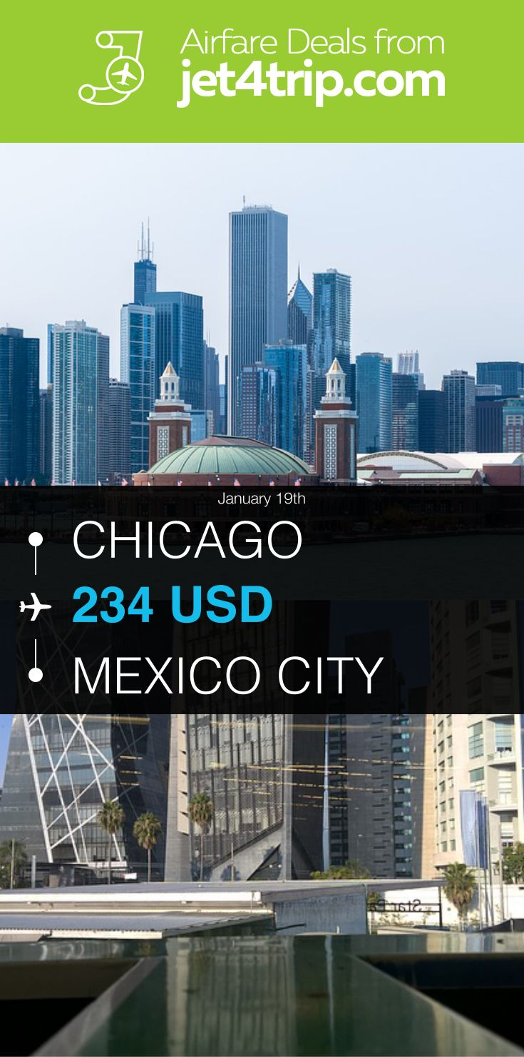 Flight from Chicago to Mexico City for $234 by AeroMéxico #travel #ticket #deals #flight #CHI #MEX #Chicago #Mexico City #AM #AeroMéxico