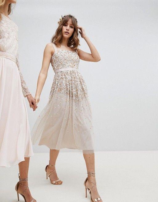 Amelia Rose | Amelia Rose Embellished Ombre Sequin Cami Strap Midi Dress #affiliatelink