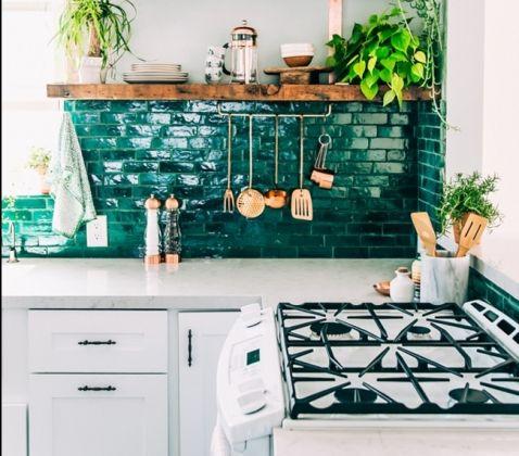 cuisine avec carrelage mural color repeindre carrelage cuisine vert meraude