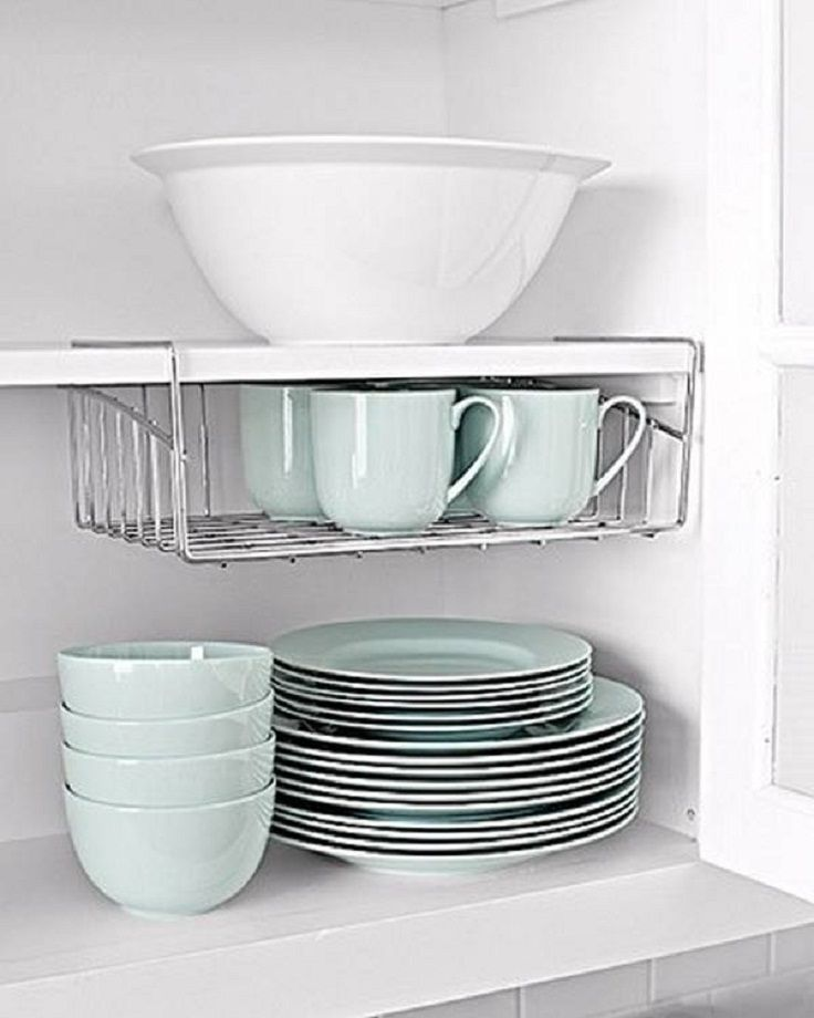 Double your cabinet space with undershelving. #storage #kitchen #hack