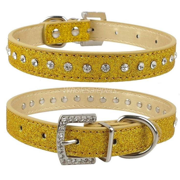 Pink Color 1 Row Rhinestone Dog Collar Diamante Pet Collars PU Leather XS S M