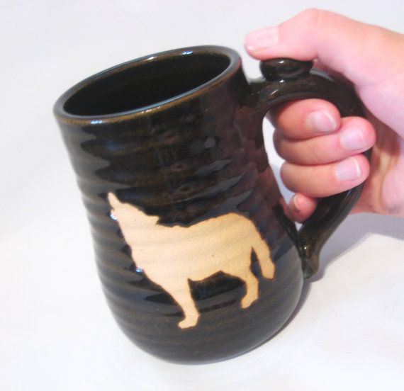Howling Wolf Coffee Mug, Tea Cup - Handmade Pottery Bare Brown Clay Wild Animal Silhouette Against Rich Black/Brown on Etsy, $24.00