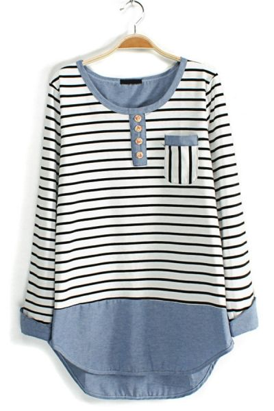 *refashion inspiration* Contrast Striped Long Sleeve Tee OASAP.com