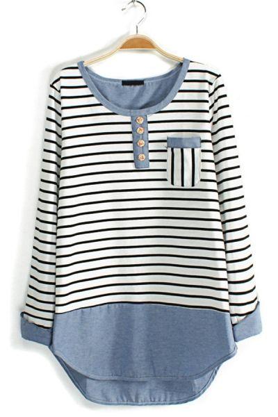*refashion inspiration* Contrast Striped Long Sleeve Tee OASAP.com
