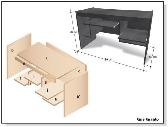 Bricolaje como hacer plano muebles melamina escritorio diy for Muebles escritorio diseno
