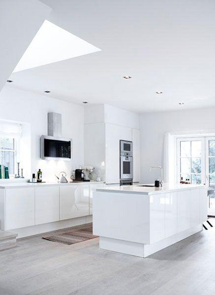 cocina abierta estilo moderno muebles lacados en blanco sin tiradores isla con fregadero