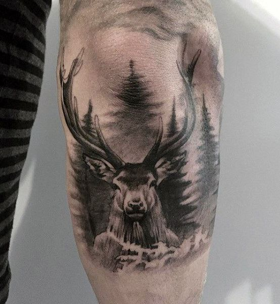 Download Free Black And Grey Deer Tattoo On Arm to use and take to your artist.