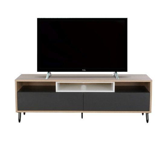 meuble tv 2 tiroirs 2 niches twit chneanthraciteblanc - Meuble Tv Blanc Brillant But