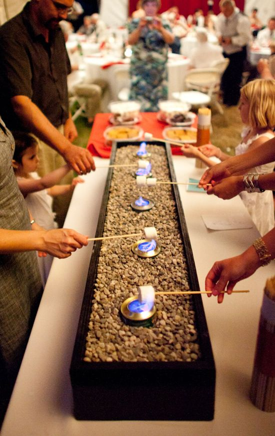 S'mores bar- this would be so easy. It's just cans of sterno in pebbles.: Outdoor Wedding, Wedding Ideas, Cute Ideas, Outdoor Parties, Parties Ideas, Cool Ideas, Wedding Reception, S More Bar, Smore Bar