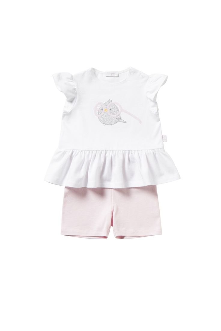 Italian Luxury TWO-PIECE WHITE AND PINK OUTFIT WITH OWL WEARING GLASSES   Il Gufo