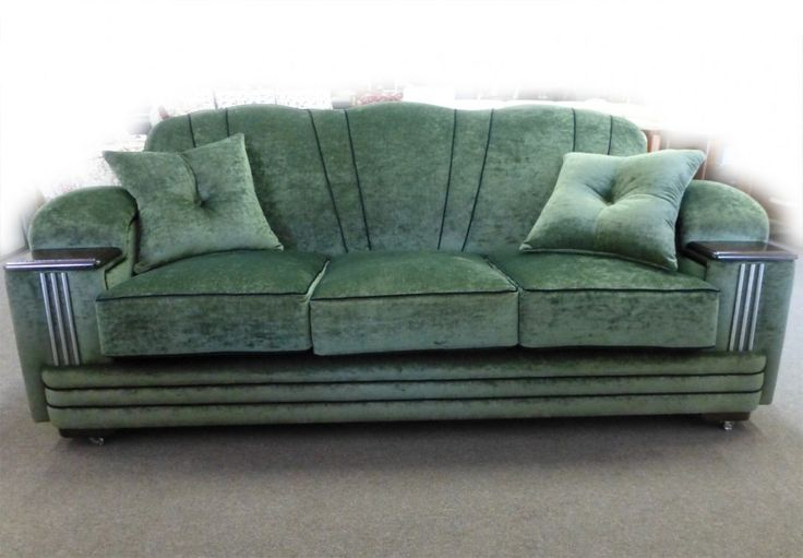 Art Deco Style Lounge/Sofa/Settee and Chair - Chrome detail