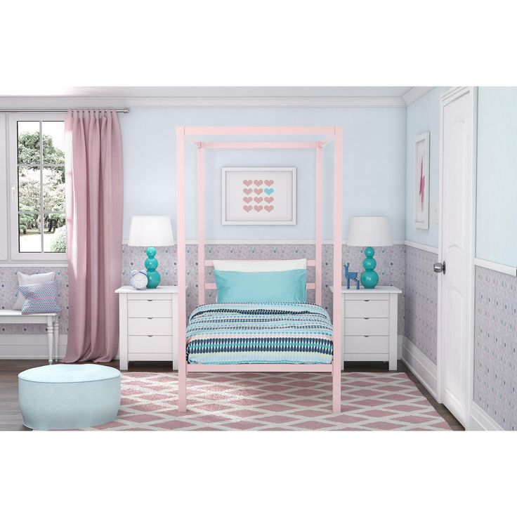 This canopy bed is the perfect enclave for your child to have a peaceful night's sleep and be used as a beautiful guest bed. You can easily add drapes to accommodate the changing tastes as they grow up in what certainly will be an eye-catching piece.